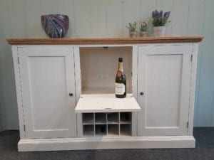 Sideboard with two full height doors, wine rack and pull down drinks flap