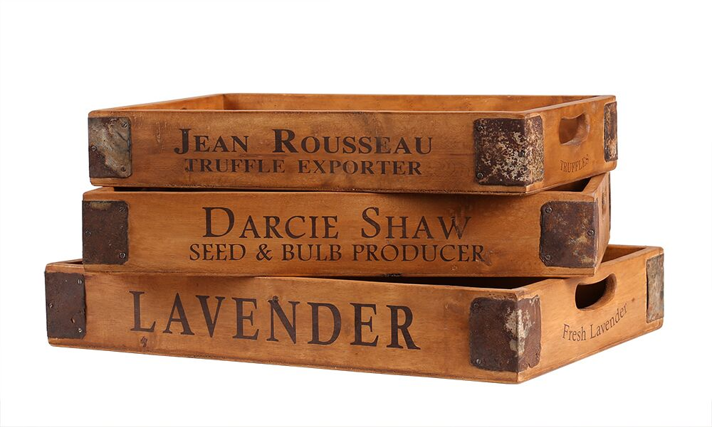 BX036 lavender tray set of 3 stacked