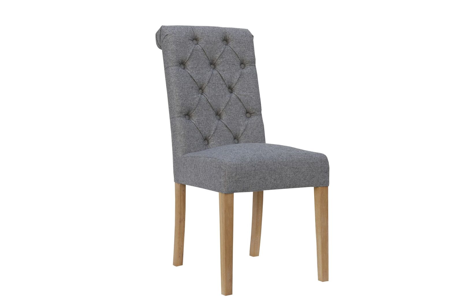 CH28LG Cavendish button back scroll top chair - light grey with oak legs