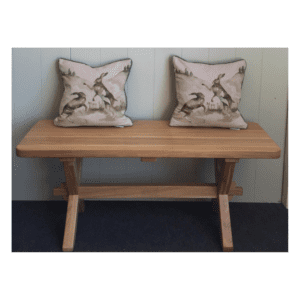 Cross leg bench assorted sizes solid oak