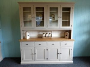 6ft four door half glazed painted grey dresser