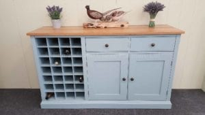 painted 5 feet sideboard with wine rack oak top