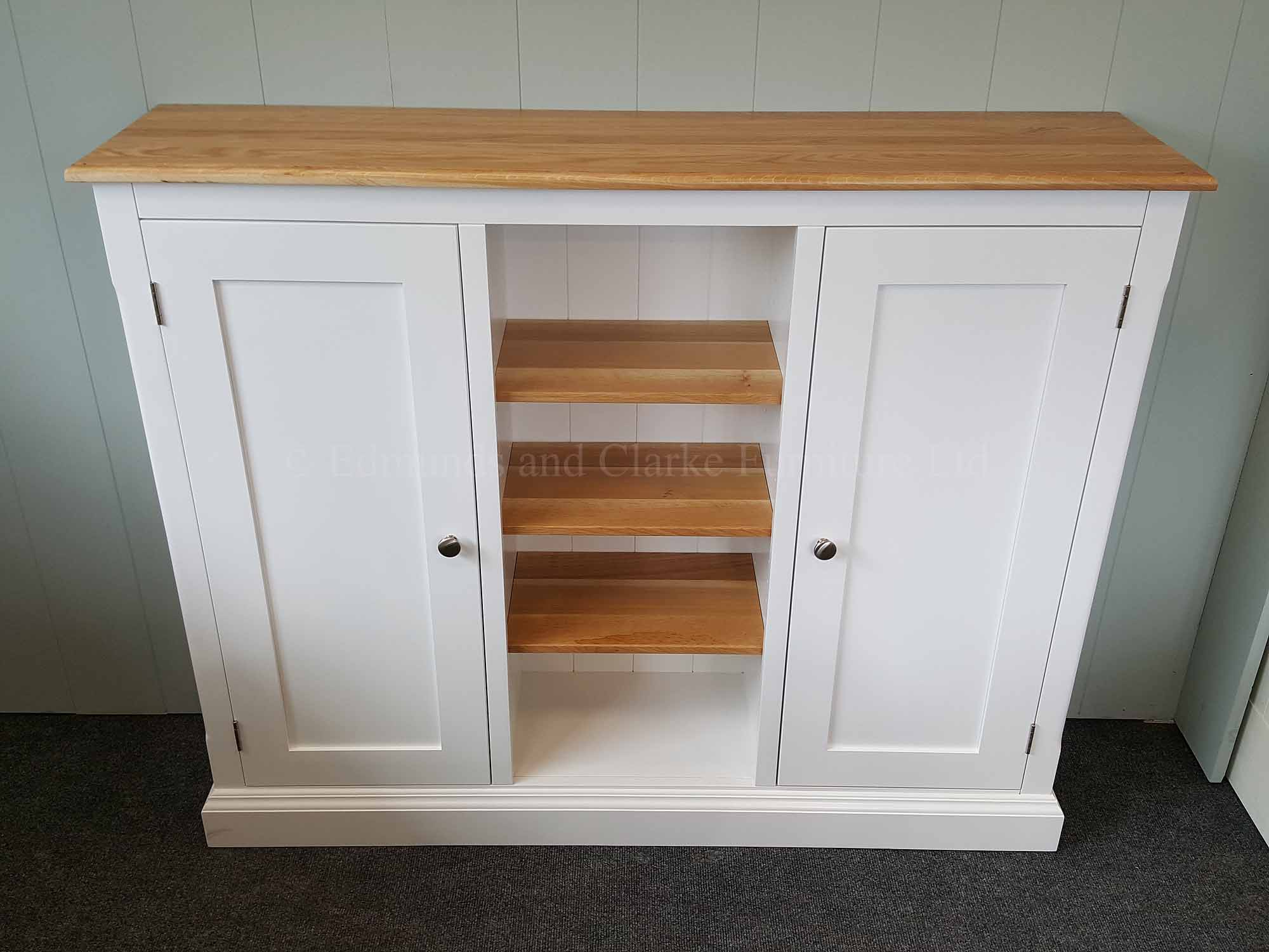 Painted white multi cupboard with open central shelving