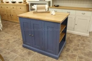 painted small kitchen island with double cupboard and storage shelves, oak top