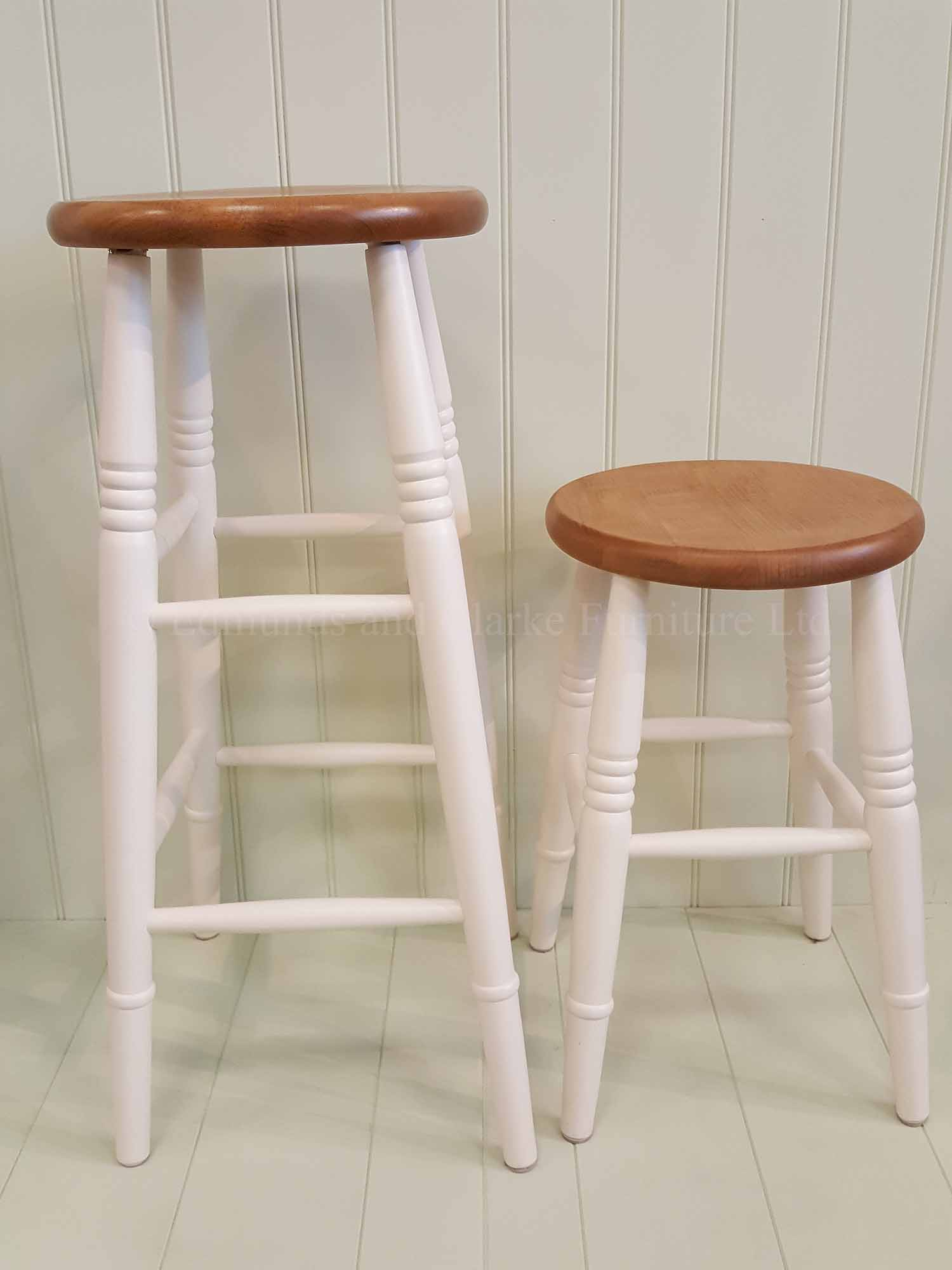 High and low farmhouse stool painted