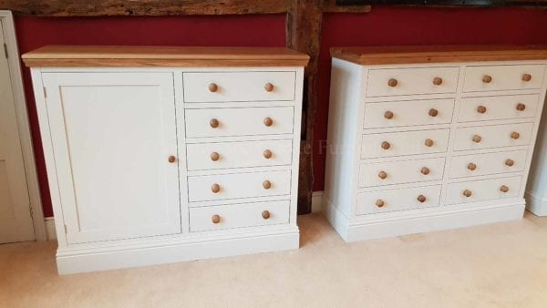 Painted multi chest and cupboard with oak top and knobs