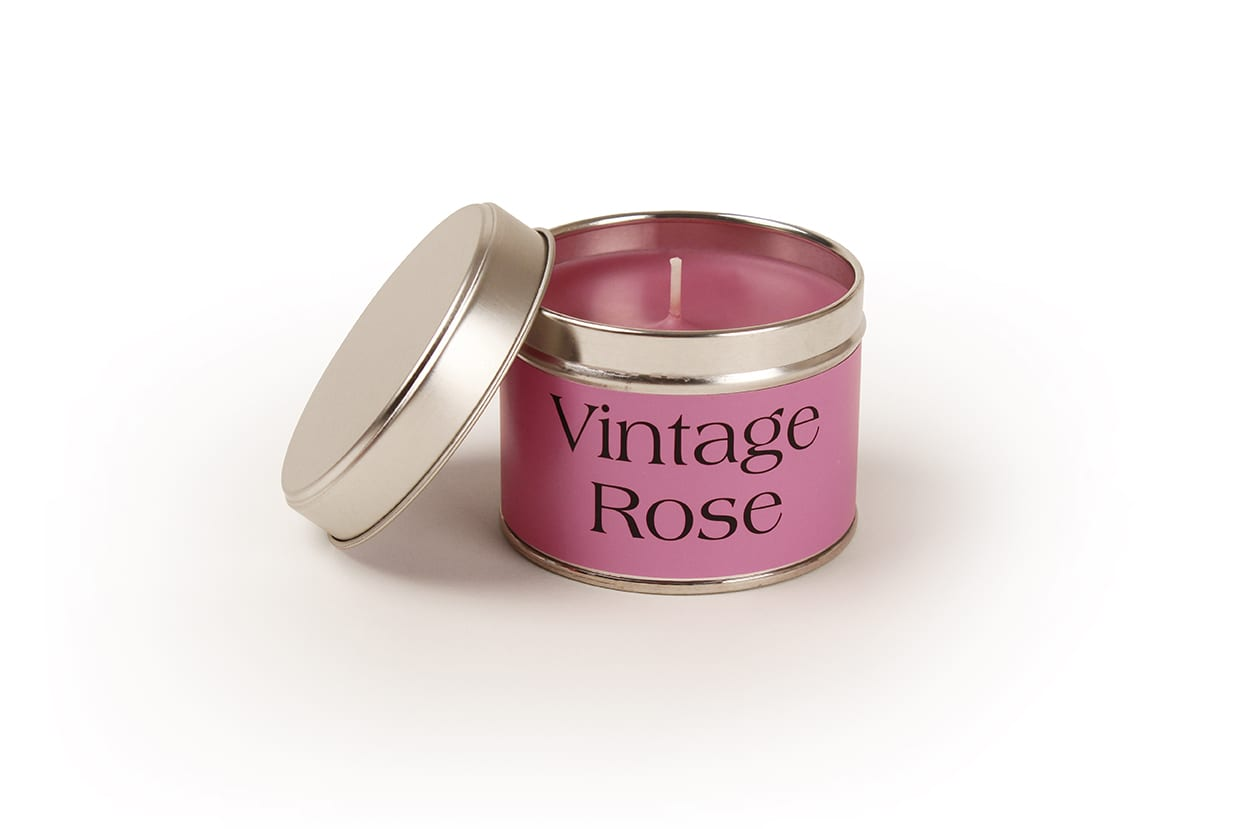 Pintail Candles Vintage Rose Small Single Wick Candle in a Pink Tin