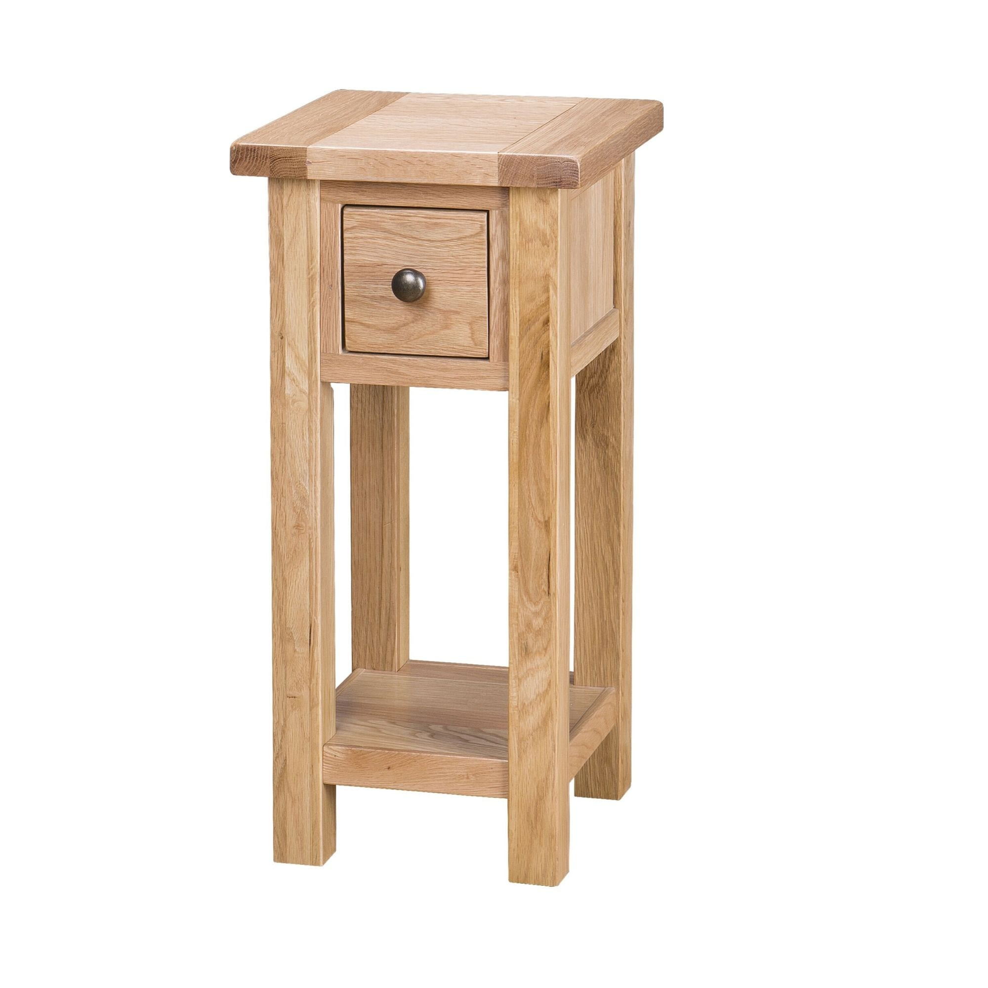 SAL022 Tall lamp table with drawers Besp-oak 1