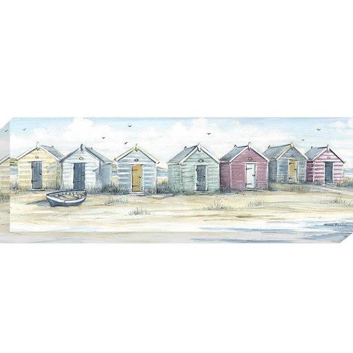 AK10123 Beach Days by Diane Demirci, canvas artwork of colourful beach huts