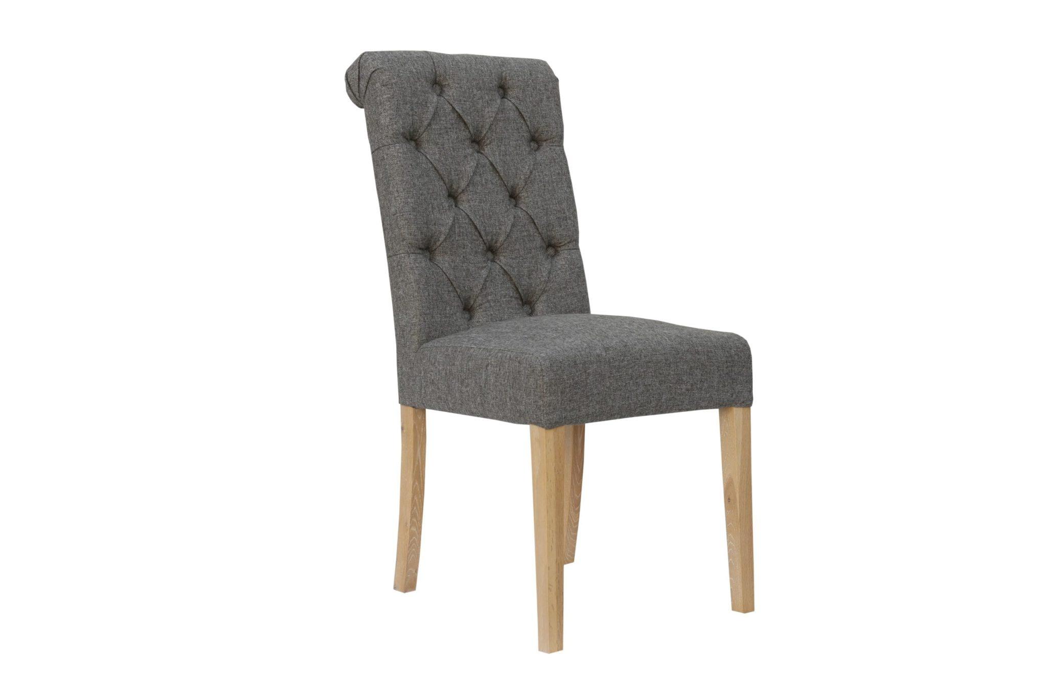 CH28DG Cavendish button back scroll top chair - dark grey and oak legs