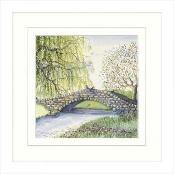 Carrot Sticks by Catherine J Stephenson, bunnies on a stone bridge playing pooh sticks with carrots, beautiful tree detail