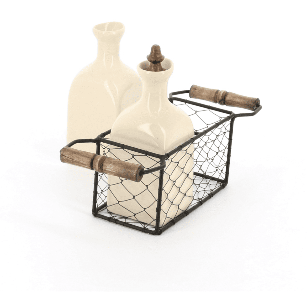 Country kitchen oil and vinegar ceramic set in a wire 2 handled carrier with wooden knobs, side view