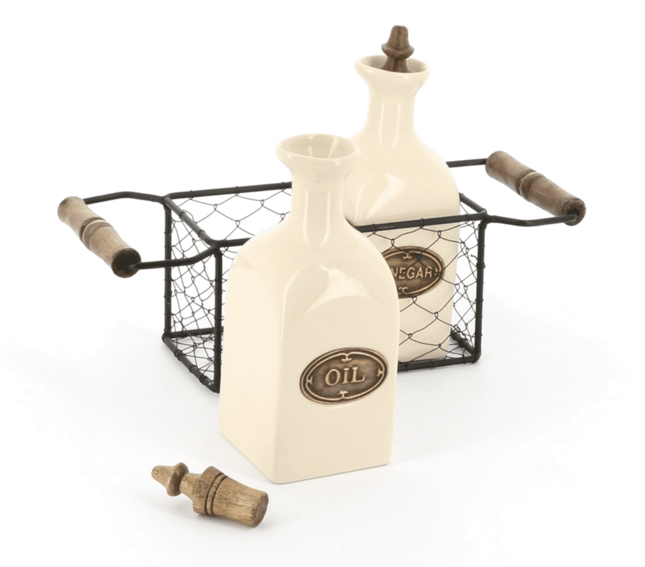 Country kitchen oil and vinegar ceramic set in a wire 2 handled carrier with wooden knobs