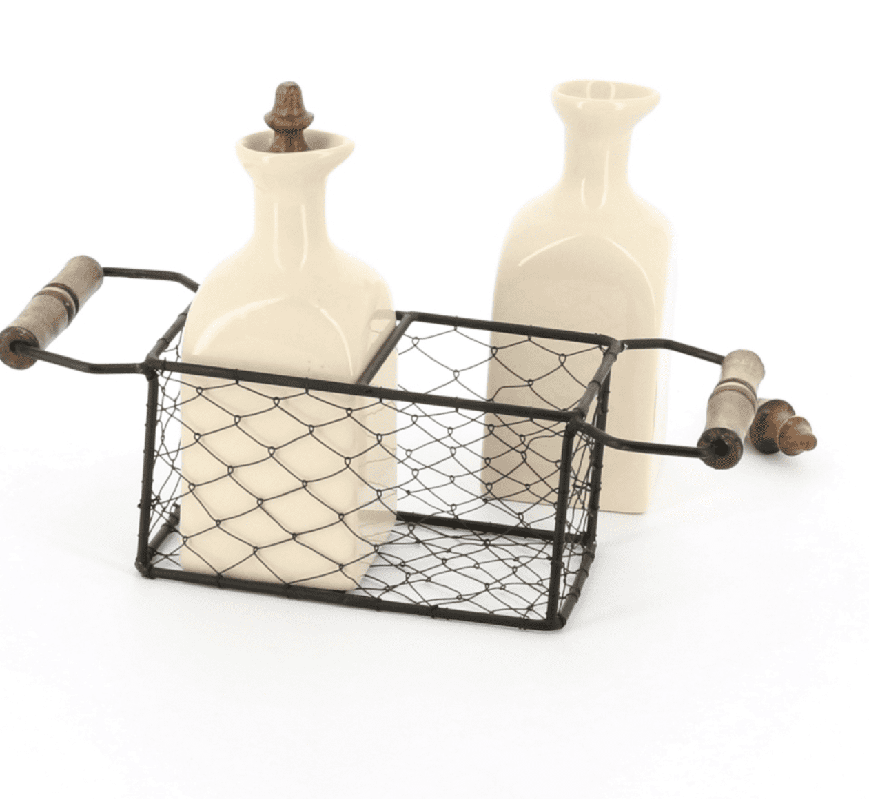 Country kitchen oil and vinegar ceramic set in a wire 2 handled carrier with wooden knobs, back view
