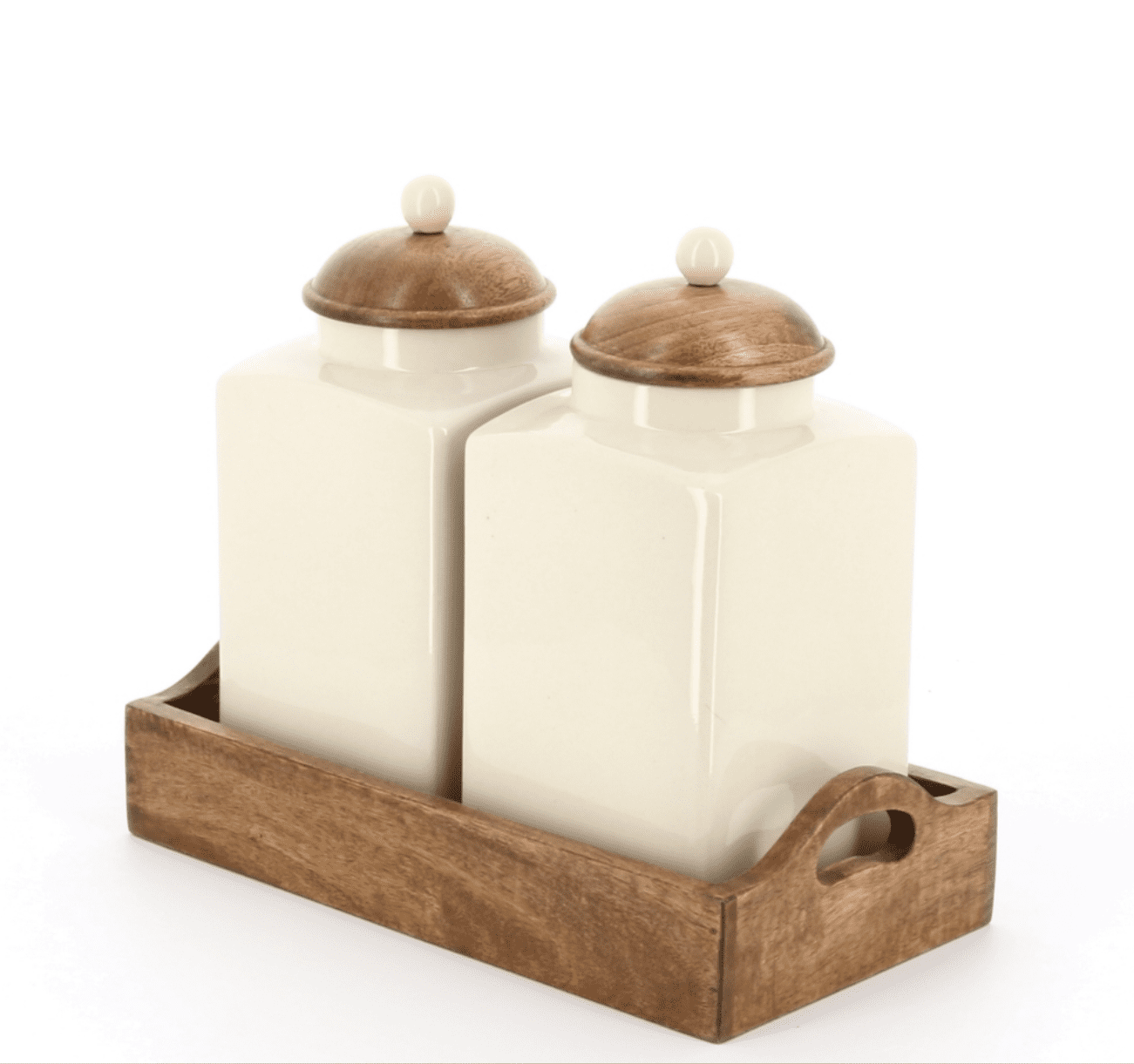 Country kitchen large sugar and flour set in wooden tray, wooden lids with ceramic knobs, side view