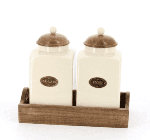 Country kitchen large sugar and flour set in wooden tray, wooden lids with ceramic knobs