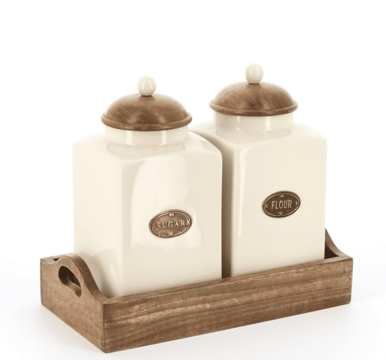 Country kitchen large sugar and flour set in wooden tray, wooden lids with ceramic knobs side view