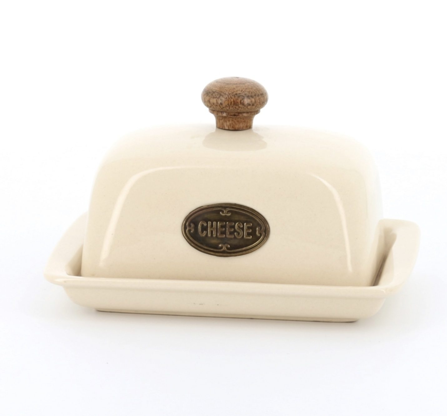 Ceramic covered cheese dish with wooden knob and metal cheese plaque