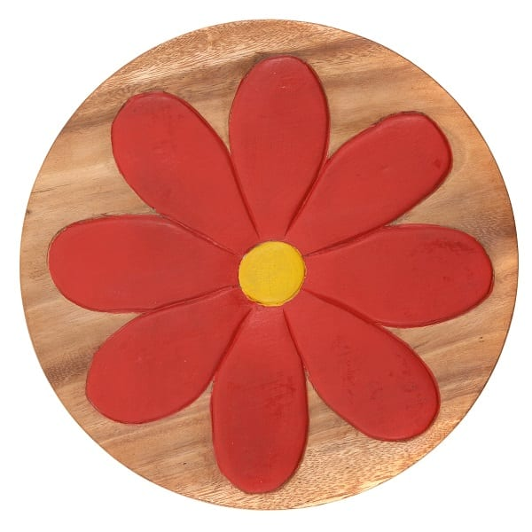 Childs Wooden Stool With Red Flower Carved and Painted in Top, top view