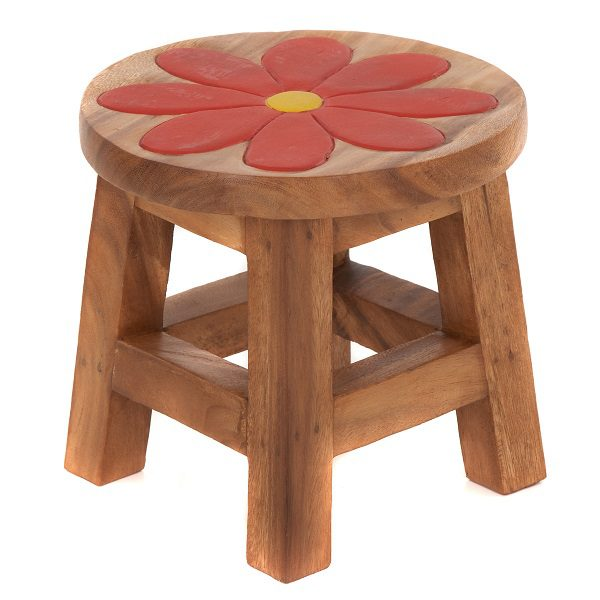 Childs Wooden Stool With Red Flower Carved and Painted in Top