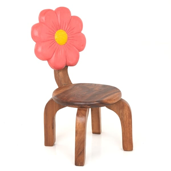 Childs Wooden Chair With Pink Flower Carved and Painted on Back Rest