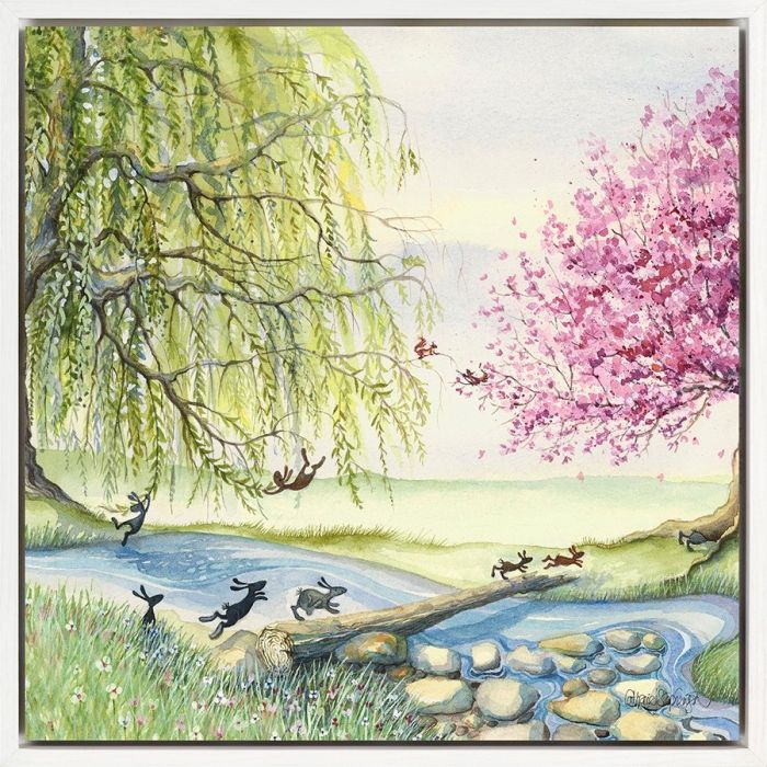 Racing Home by Catherine J Stephenson, lots of bunnies chasing each other and playing across a tree lined stream