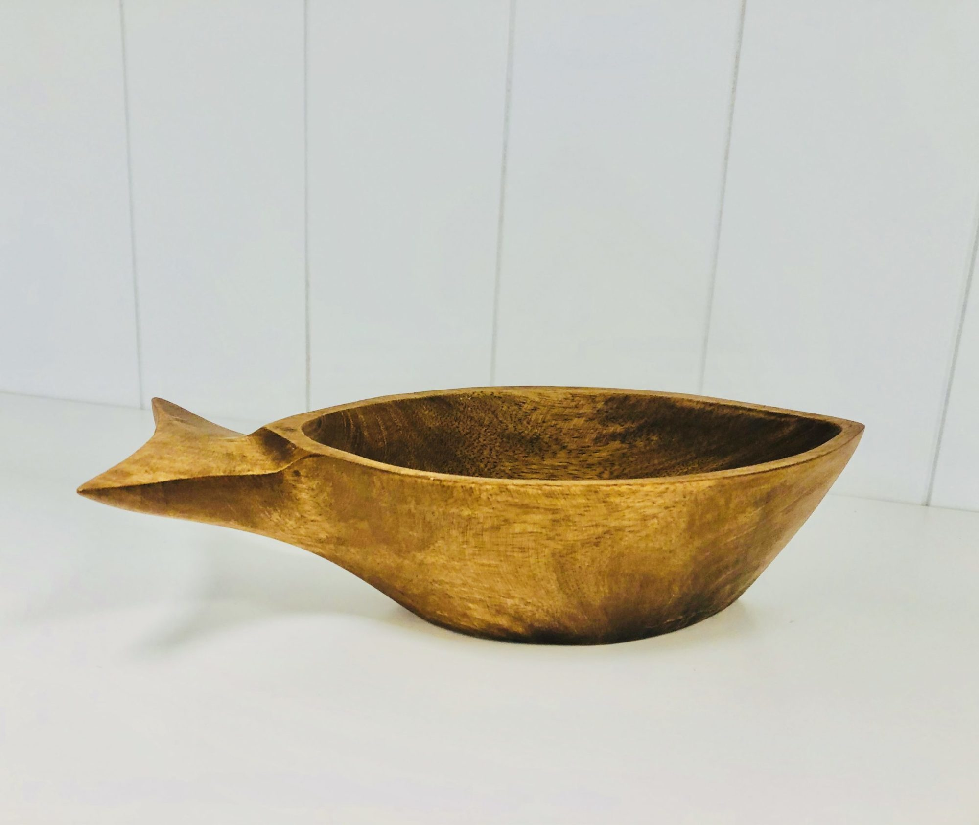 Small wooden fish shape bowl
