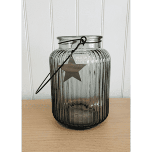 grey star vase with handle medium