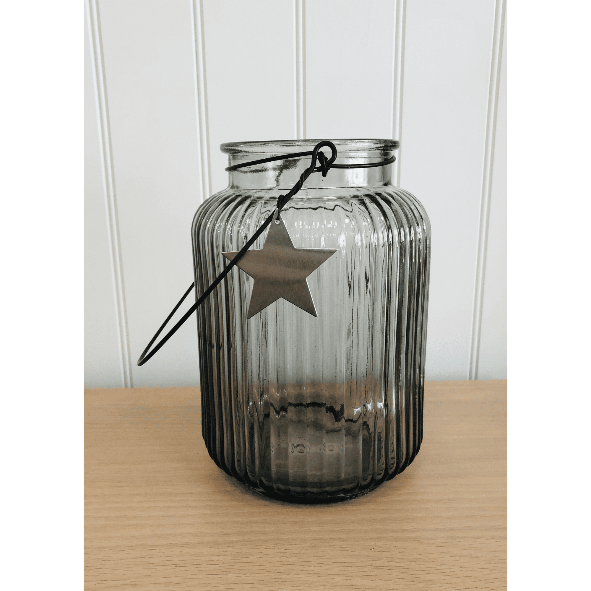grey star vase with handle medium