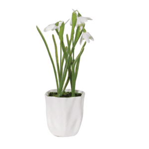 Faux snowdrops in white pot