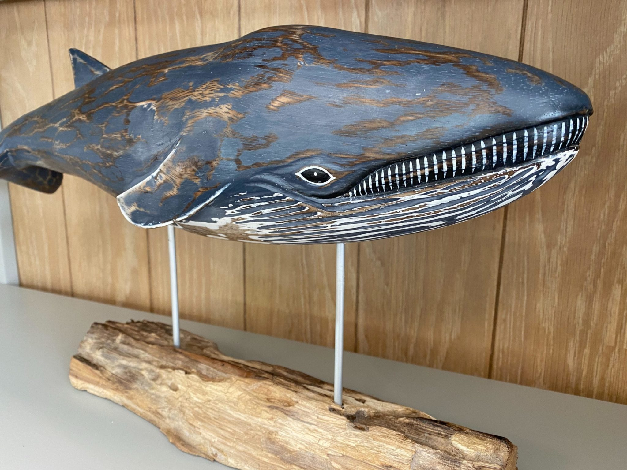 D406 Archipelago large blue whale wood carving close up