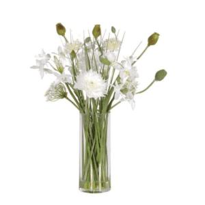 Mixed white garden flowers in vase