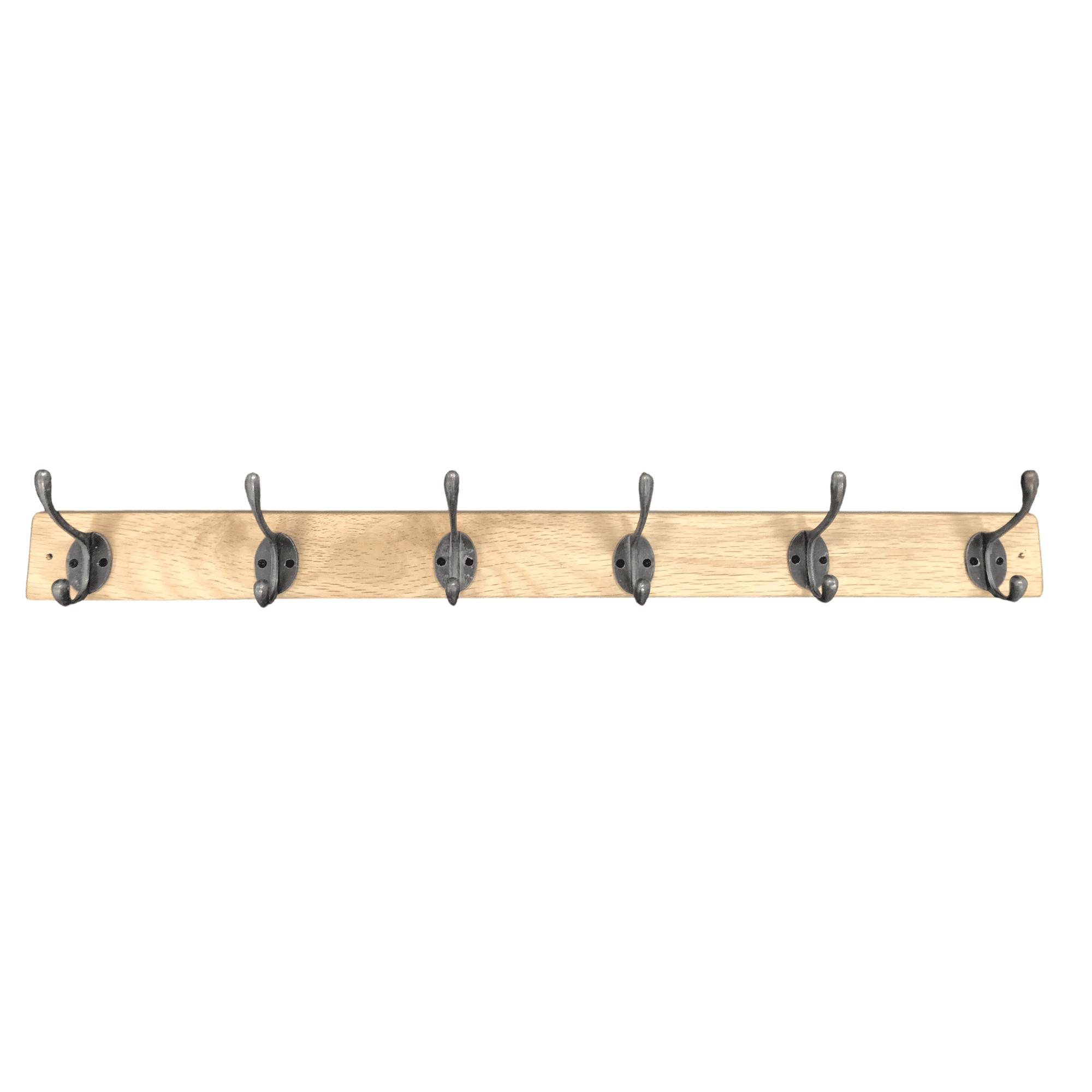 Oak coat rack with black hooks without background