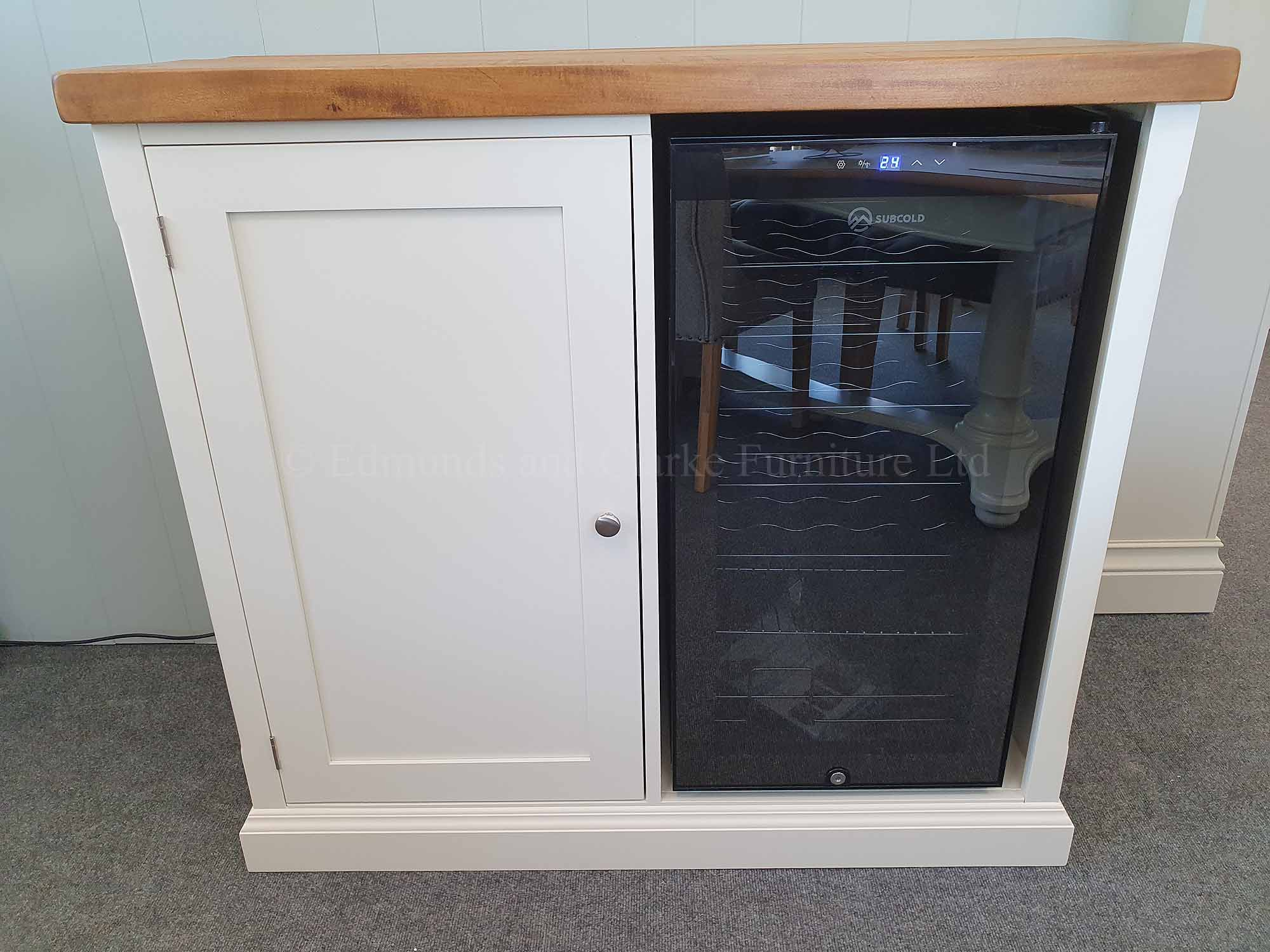 sideboard with built in wine cooler painted with choice of wooden top