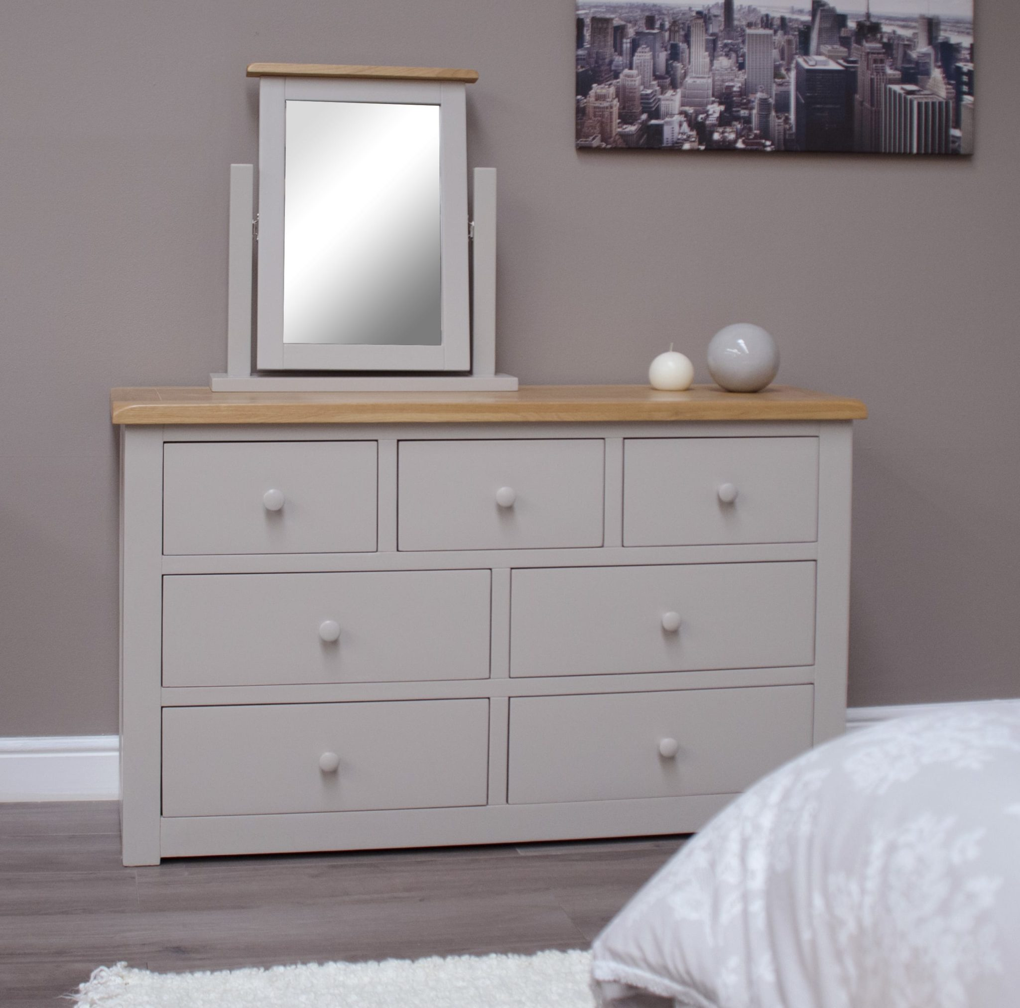 DIA7CH Diamond painted 7 drawer multi chest room set