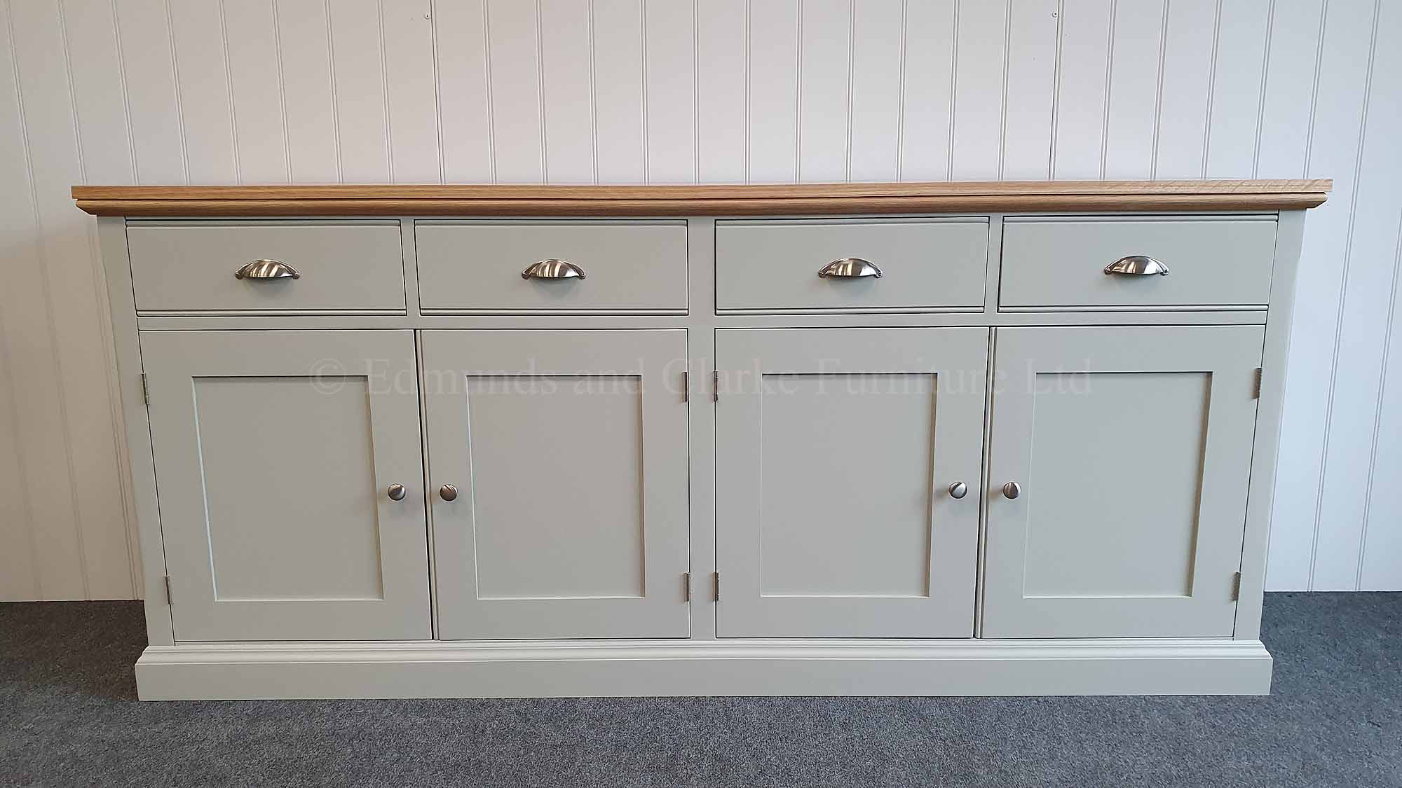 4 door 4 drawer sideboard 6ft, painted grey with oak top