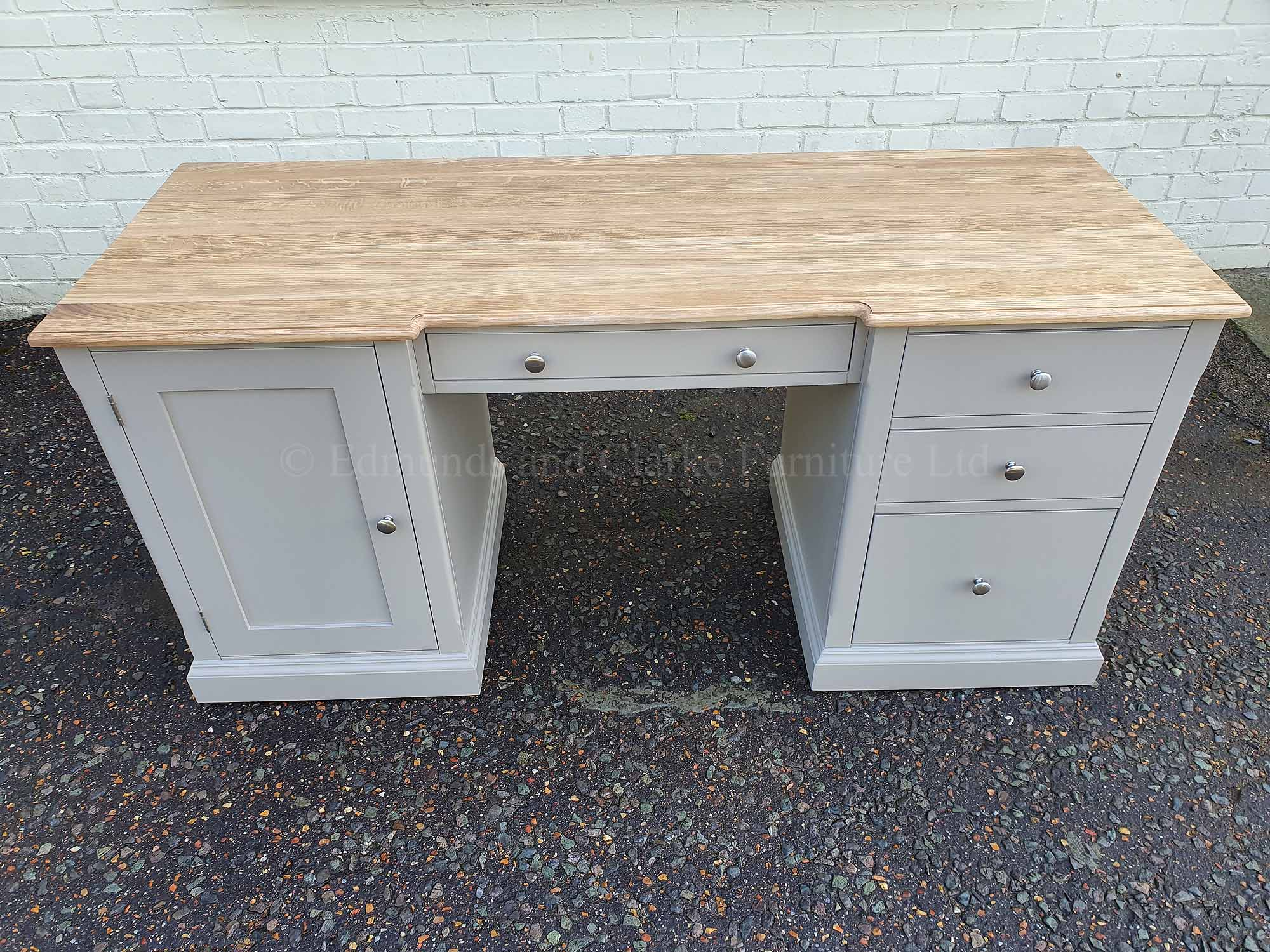 workstation desk with filing drawer and 3 useful drawers, cupboard on left, painted grey with oiled oak top