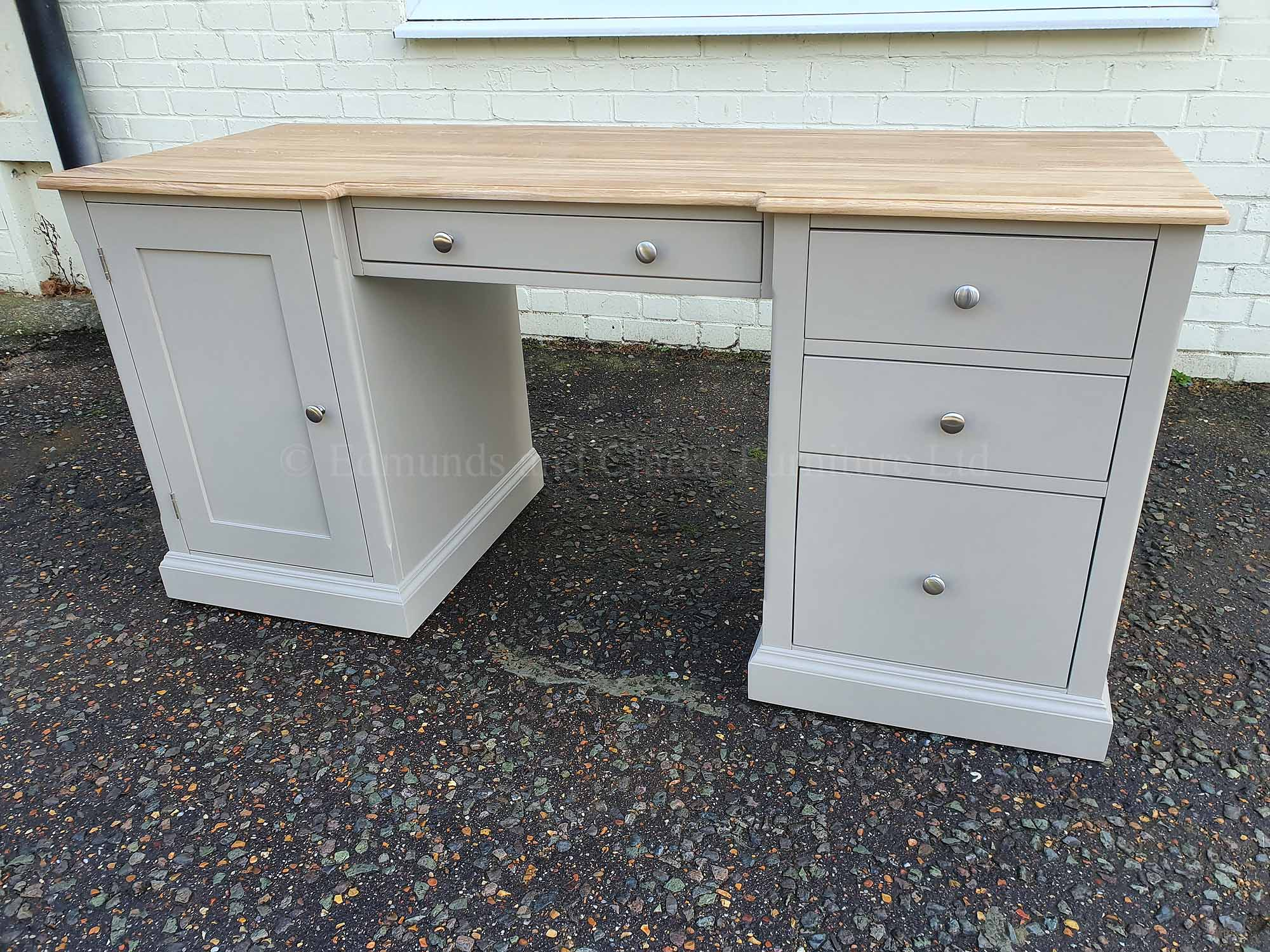 Office desk with cupboard and drawers, painted grey with oiled oak top