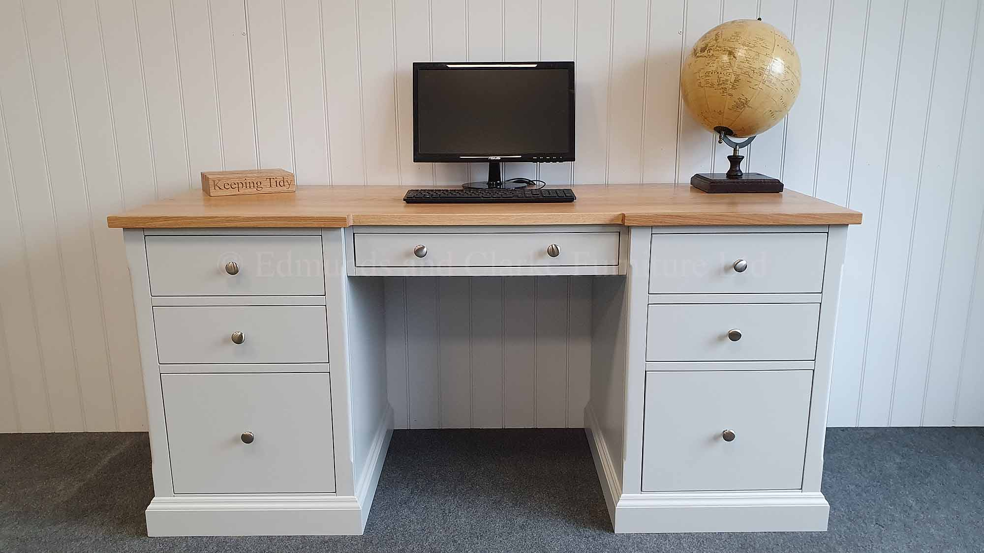 painted double pedestal desk with oak top