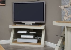 PZCORTV Z Designer painted corner tv unit natural top and shelf