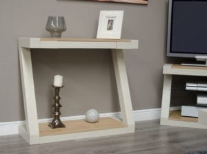 PZHT Z Designer Painted hall table natural oak tops and shelf