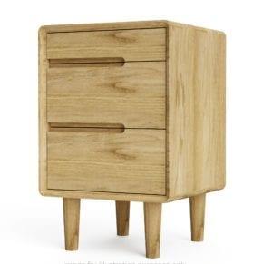 SCA3BS Scandic Oak 3 Drawer Bedside