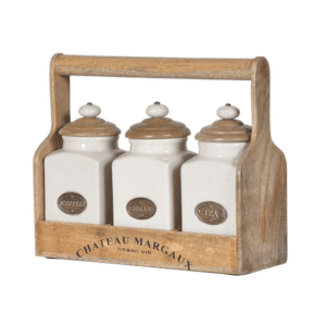 Set of 3 storage jars Coffee Tea and sugar in wood carrier