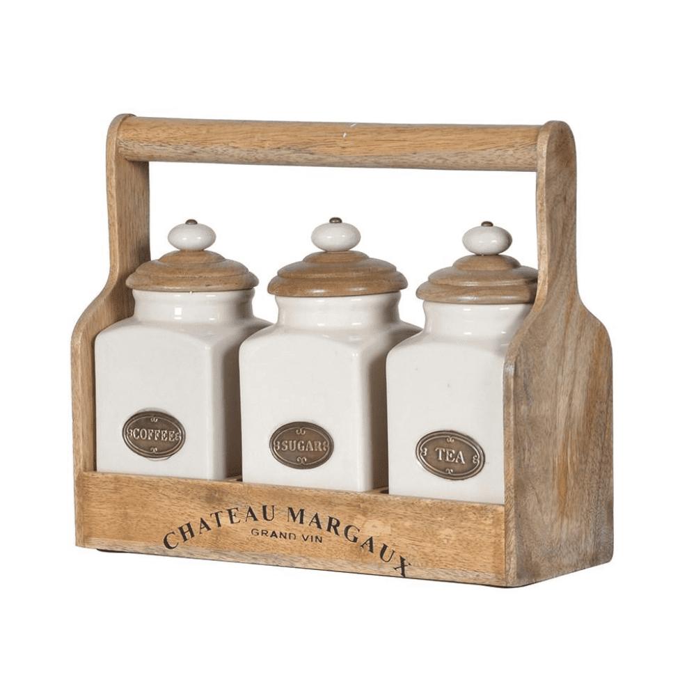 Set of 3 storage jars Coffee Tea and sugar in wood carrier