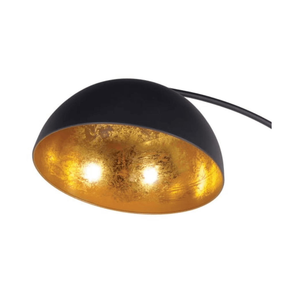Black curved floor lamp with gold inner on shade