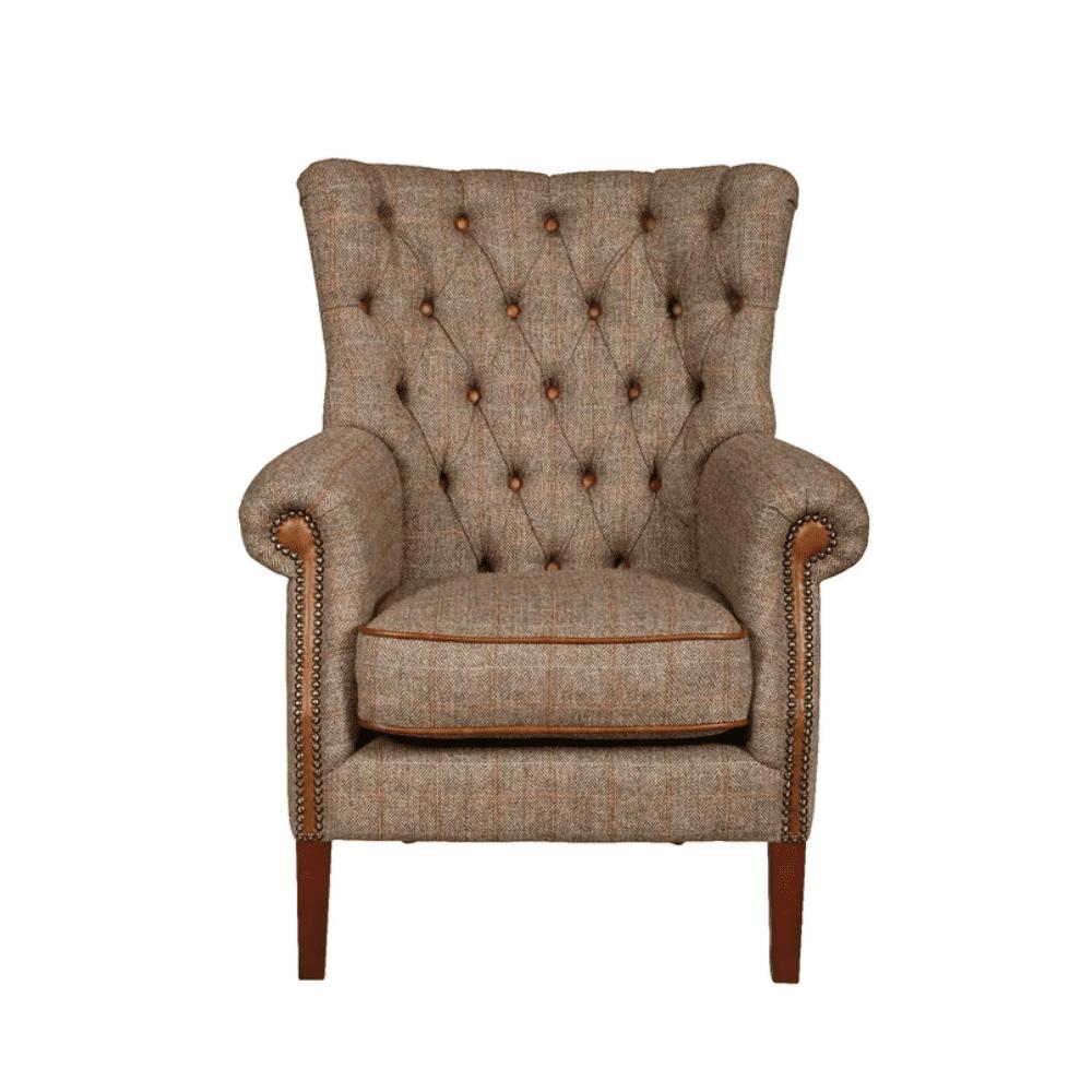 Vintage sofa company hexham harris tweed and cerato leather armchair