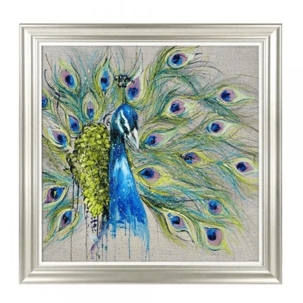 Proud as a peacock framed art