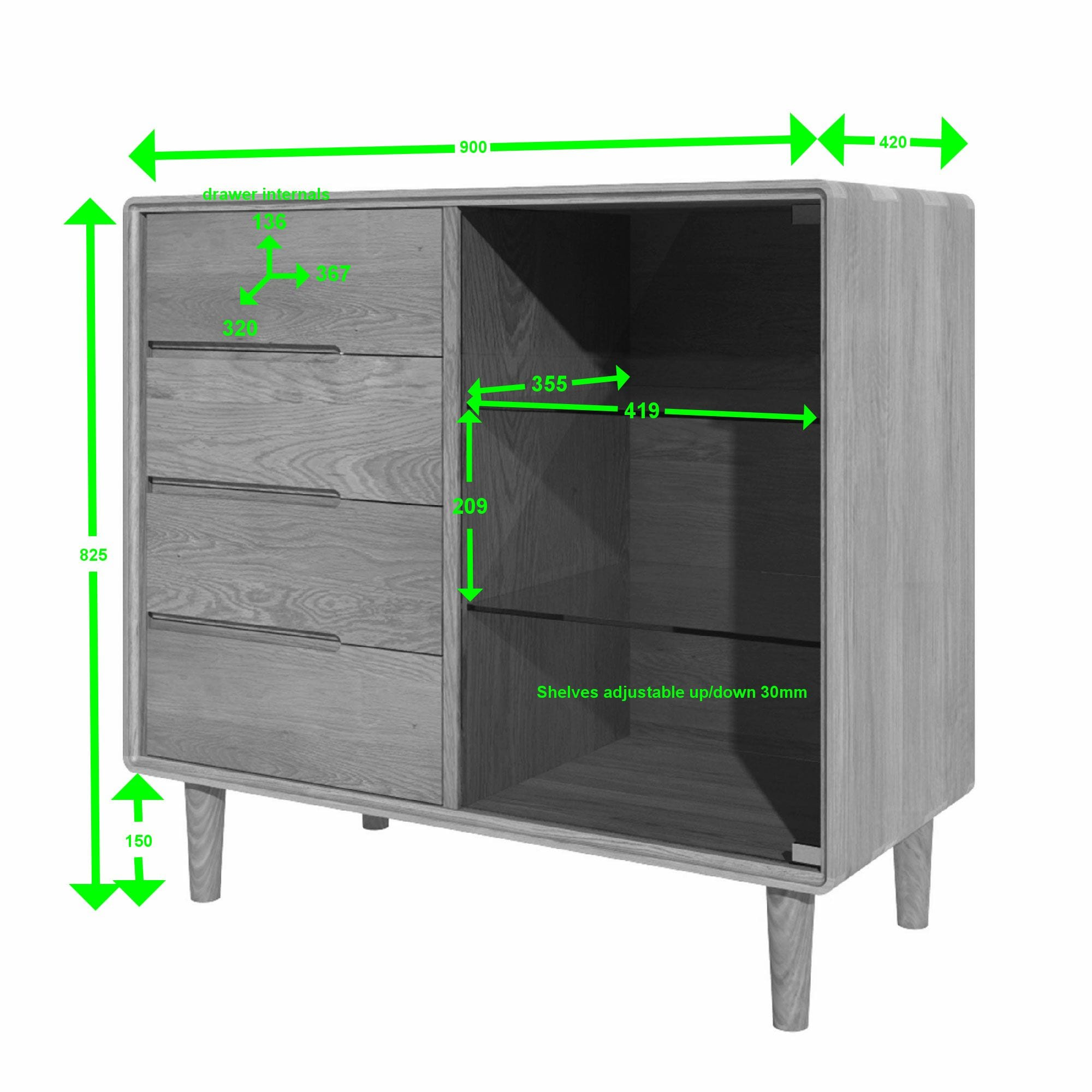 scandic oak entertainment unit measurements