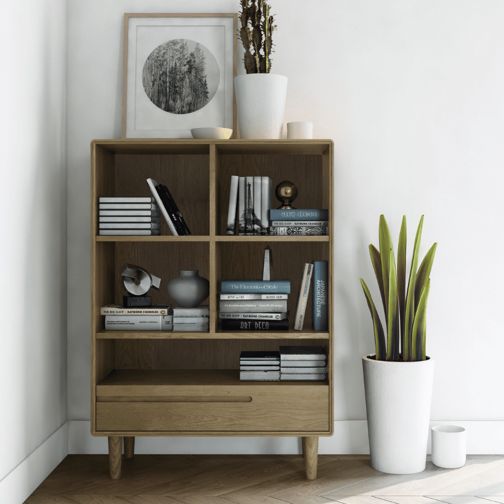 scandic oak small bookcase room set