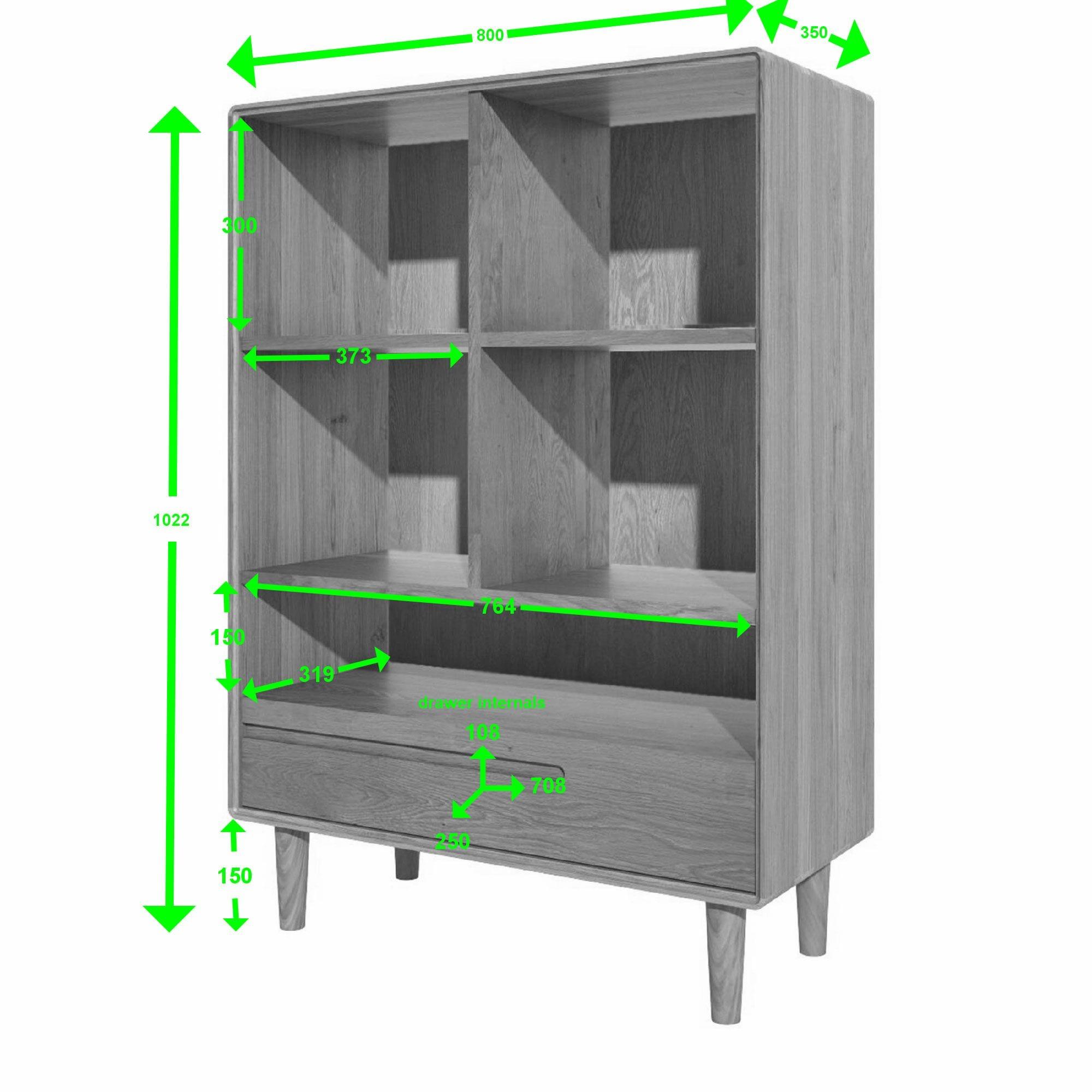 small scandic oak bookcase measurements